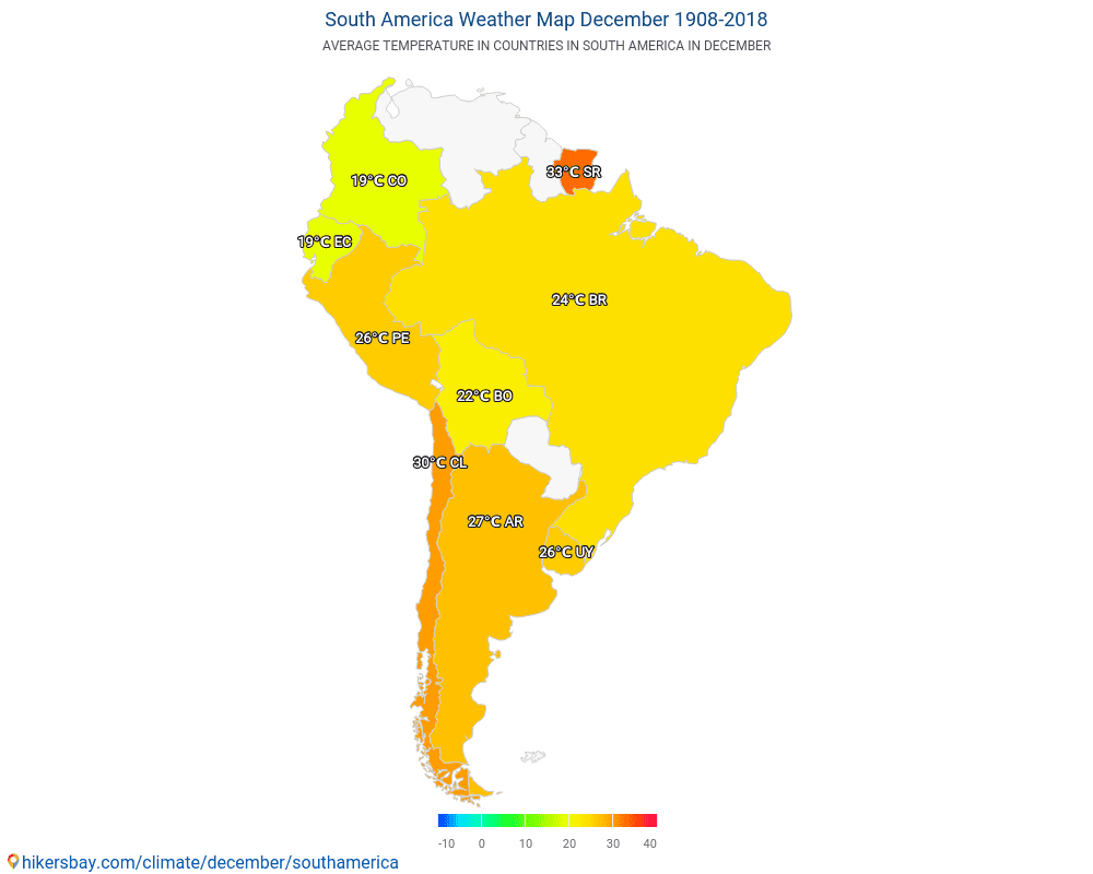 South America - Weather in December in South America 2018 on south america continent map, south america seismicity map, south america climate map, south america physical map, south america drought map, south america wind map, south america topographic map, south america time zone map, south america vegetation map, south korea temperature map, south america interactive map, south america rainfall map, pampas grasslands south america map, north america temperature map, south america elevation map, south america color map, south american weather forecast, central america climate zone map, south america water map, south america animals,