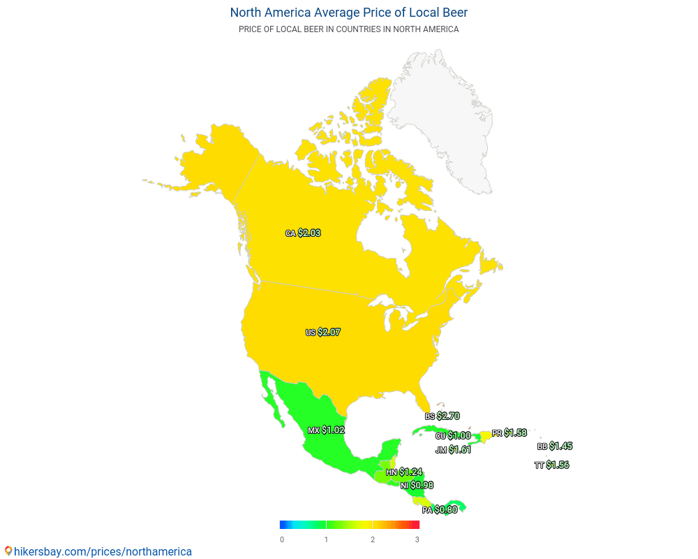 North America - Average Price of Beer in North America