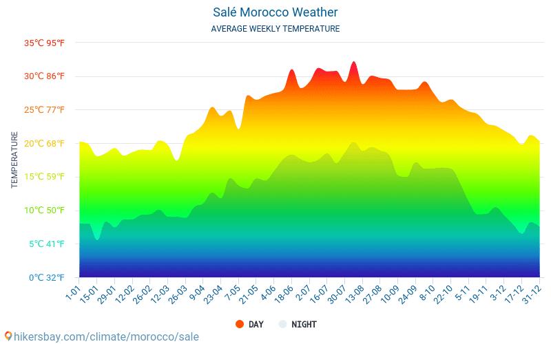 Salé - Clima e temperature medie mensili 2015 - 2019 Temperatura media in Salé nel corso degli anni. Tempo medio a Salé, Marocco.