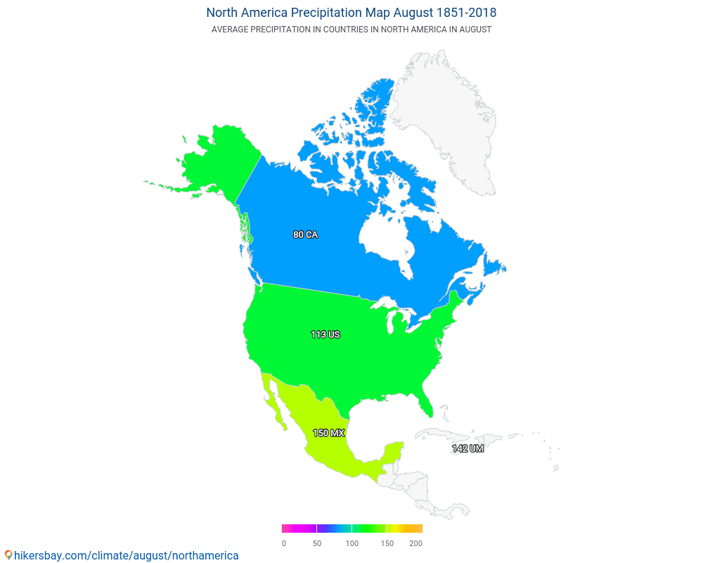 North America - Average temperature in North America over the years. Average Weather in August.