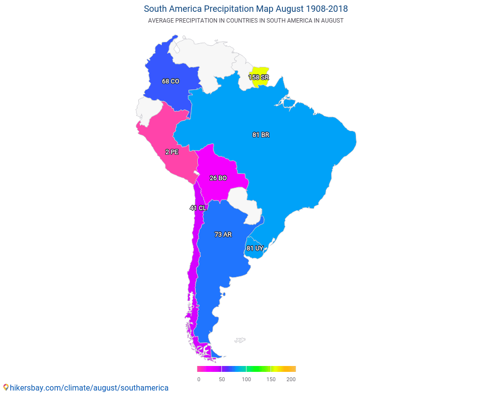 South America - Average temperature in South America over the years. Average Weather in August.