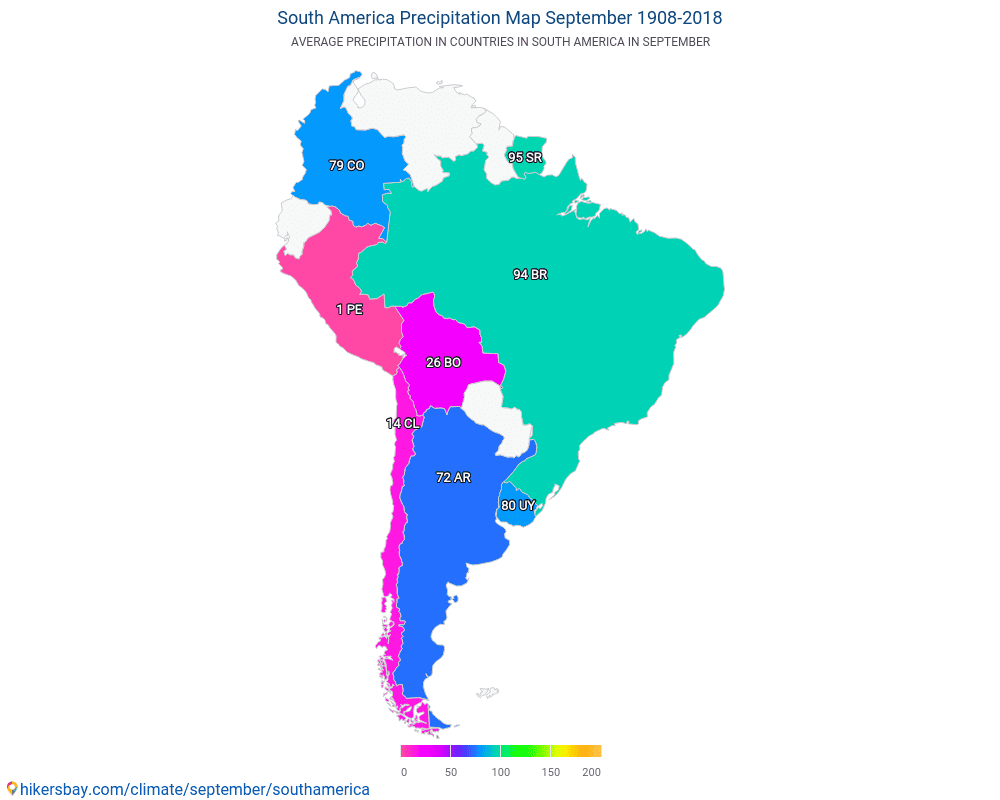 South America - Average temperature in South America over the years. Average Weather in September.