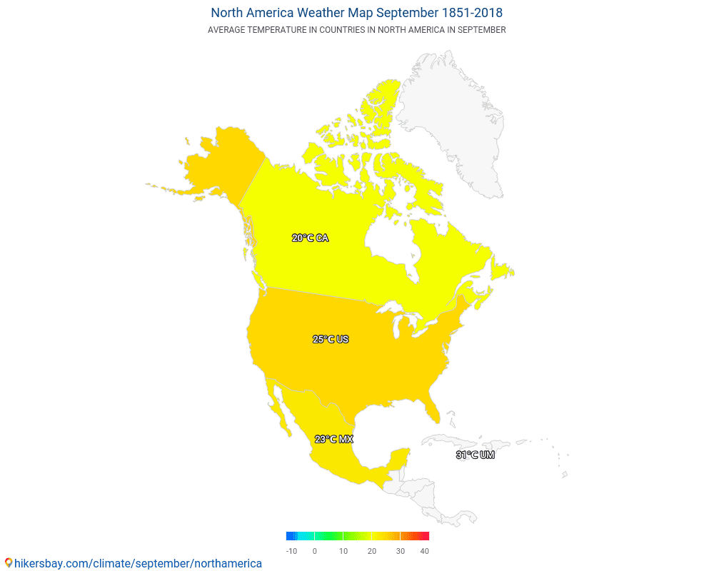North America - Average temperature in North America over the years. Average Weather in September.