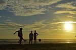 football, beach, children