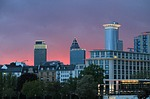 skyline, frankfurt, red