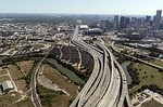 aerial view houston highways, urban, roads