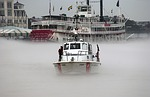 us coast guard patrol boat, fog, mississippi river