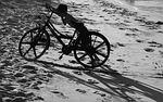 boy, bike, sand