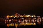 charles bridge, prague castle, night