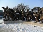 snow, winter, statue