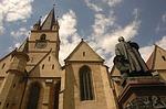 sibiu, church, statue