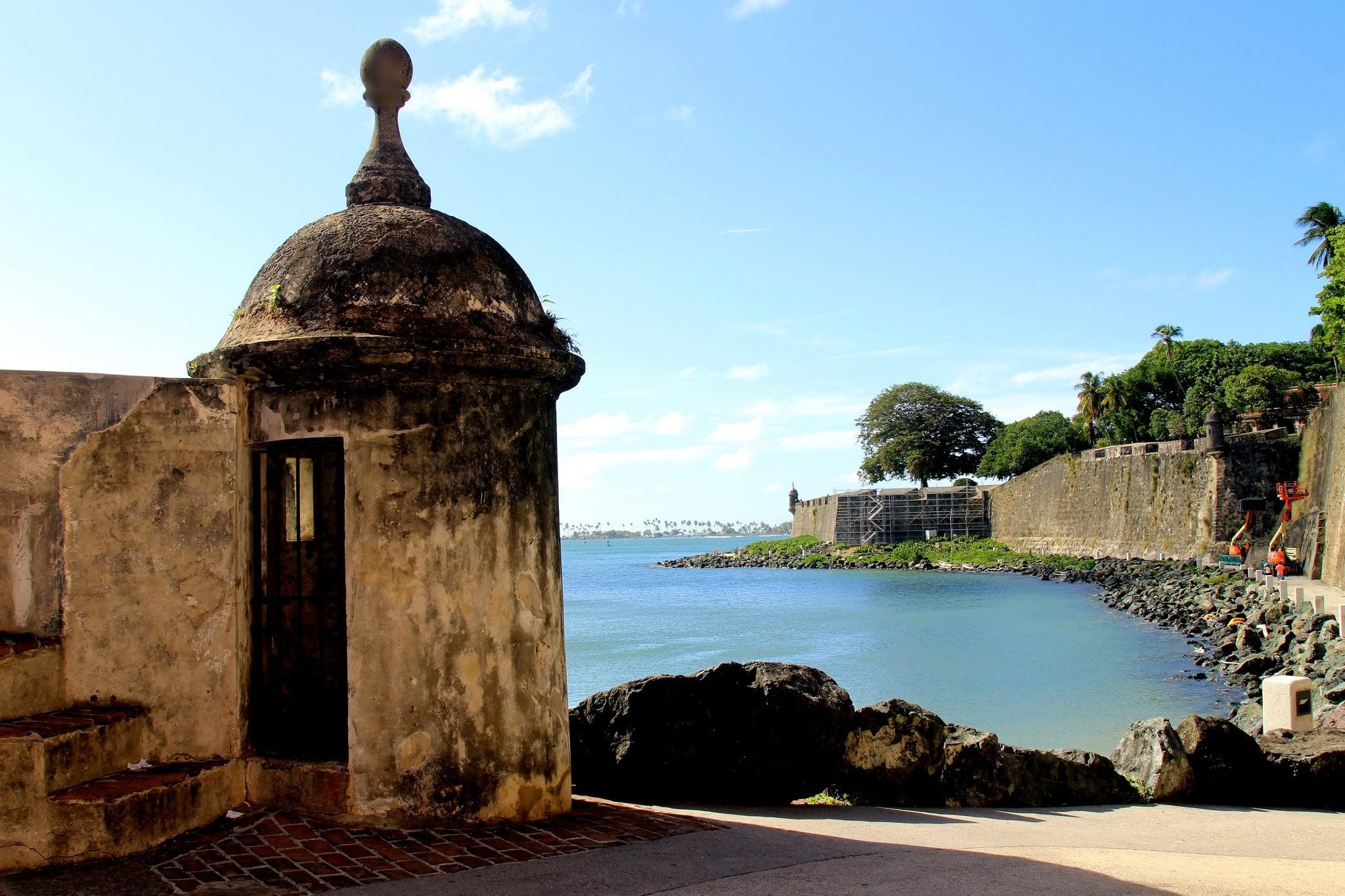 Image of Castillo San Cristóbal near San Juan. ocean old blue sea sky castle puerto town san downtown day juan fort outdoor district sunny landmark historic rico pr caribbean cristobal castillo sju benteng konomark