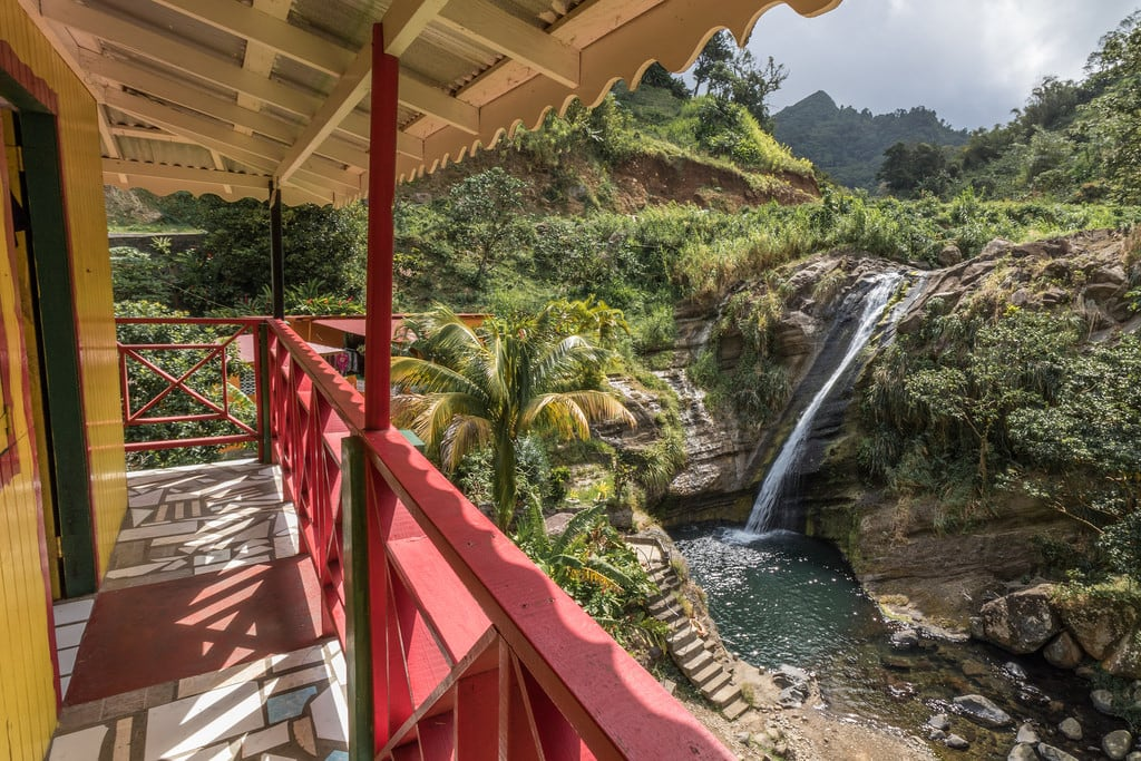 Image de Concord Waterfalls. waterfall palm grenada palmtree concord saintjohn concordfalls