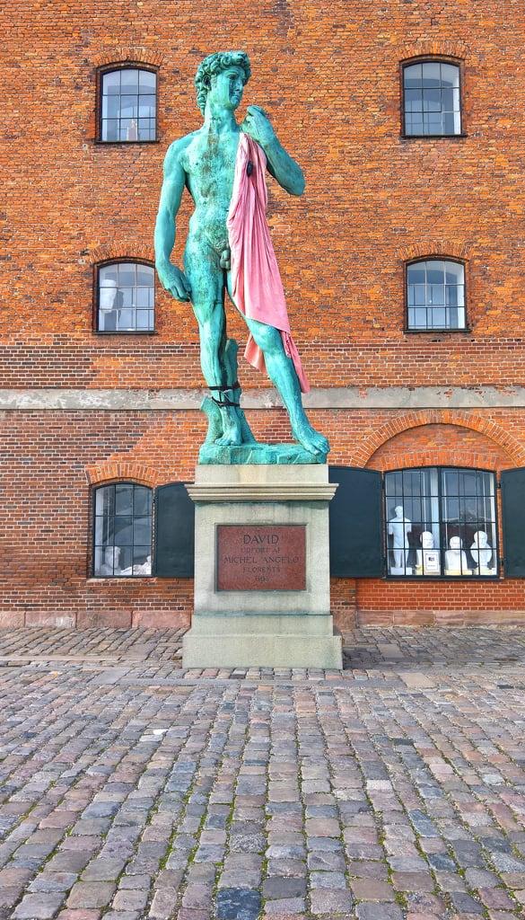 Image of David. michelangelo statue copenhagen denmark bronze pink