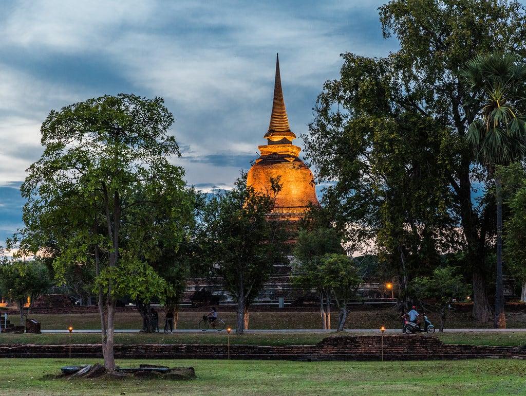 Image of Sukhothai Historical Park near Ban Na. lightshow night buddha sukhothai temple thailand unescoworldheritagesite