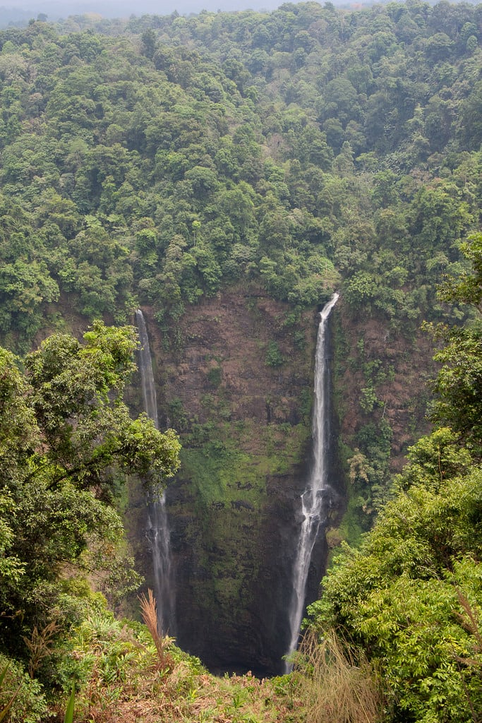 Image of waterfall. asia bolaven drop foliage jungle landscape laos nature park plateau tadfan tadfane travel waterfall wilderness