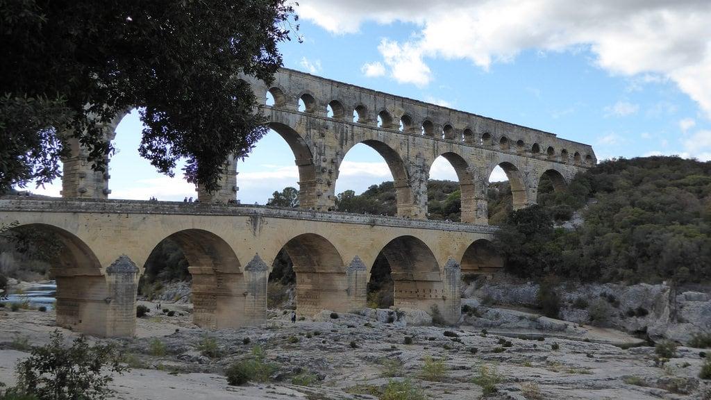 Image of Pont du Gard. architecture aquaduct bridge river roman unescoheritage