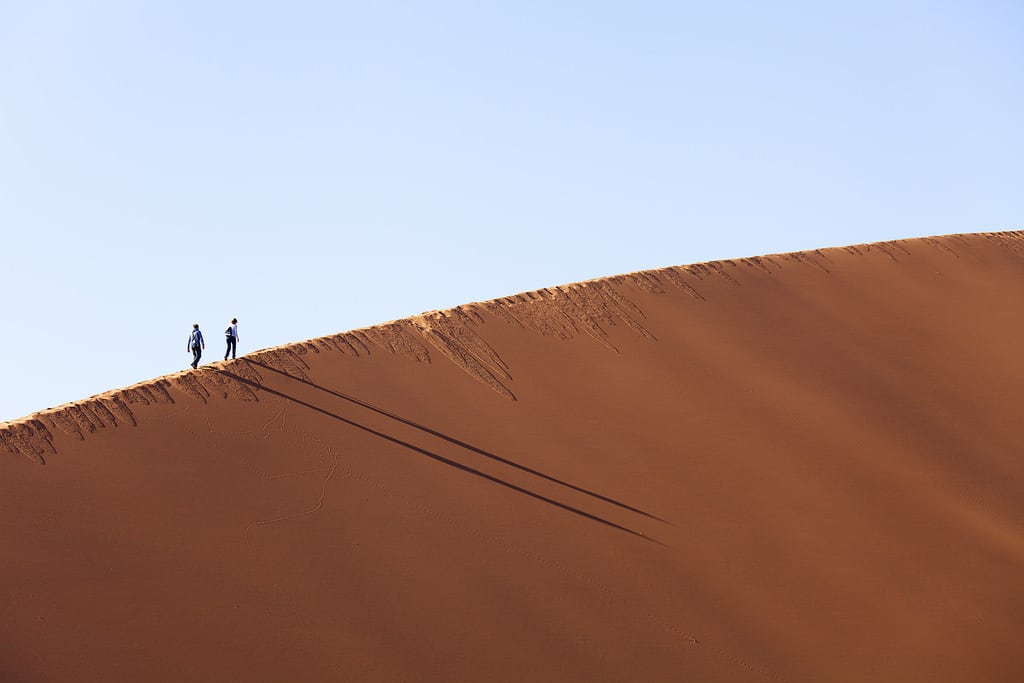 Immagine di Dune 45. namibia dune nature light sky travel landscape color mountain outdoor way africa shadow amazing desert weather scenic silhouette perspective safari national park