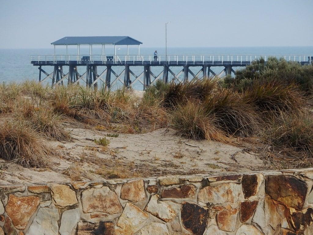 Image of Grange Beach near Grange. grange jetty wall dunes shelter