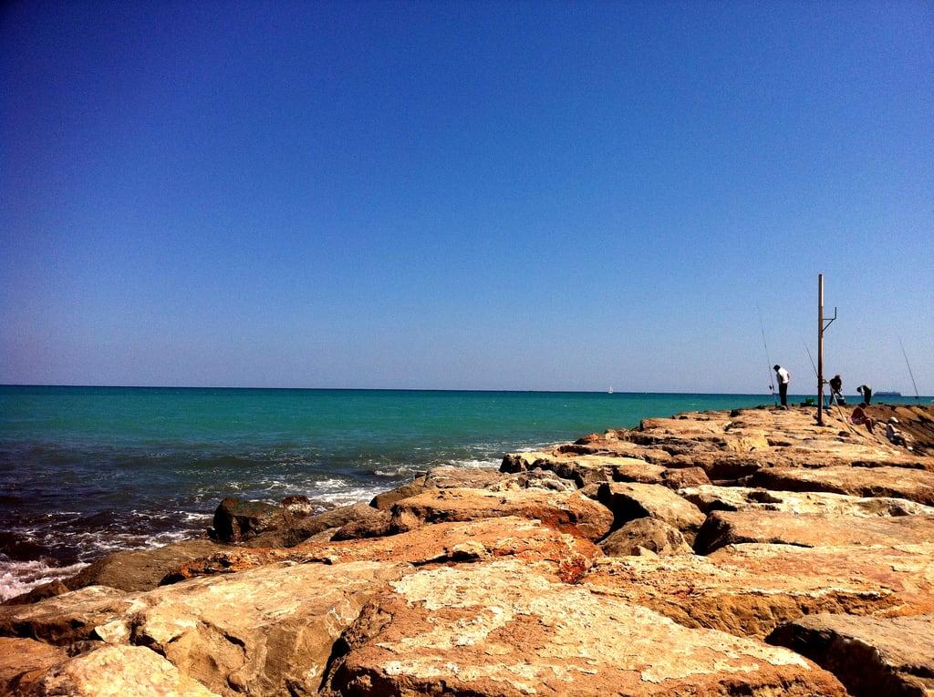 Image of Platja del Port de Sagunt. ocean fish beach fishing spain jetty sagunto