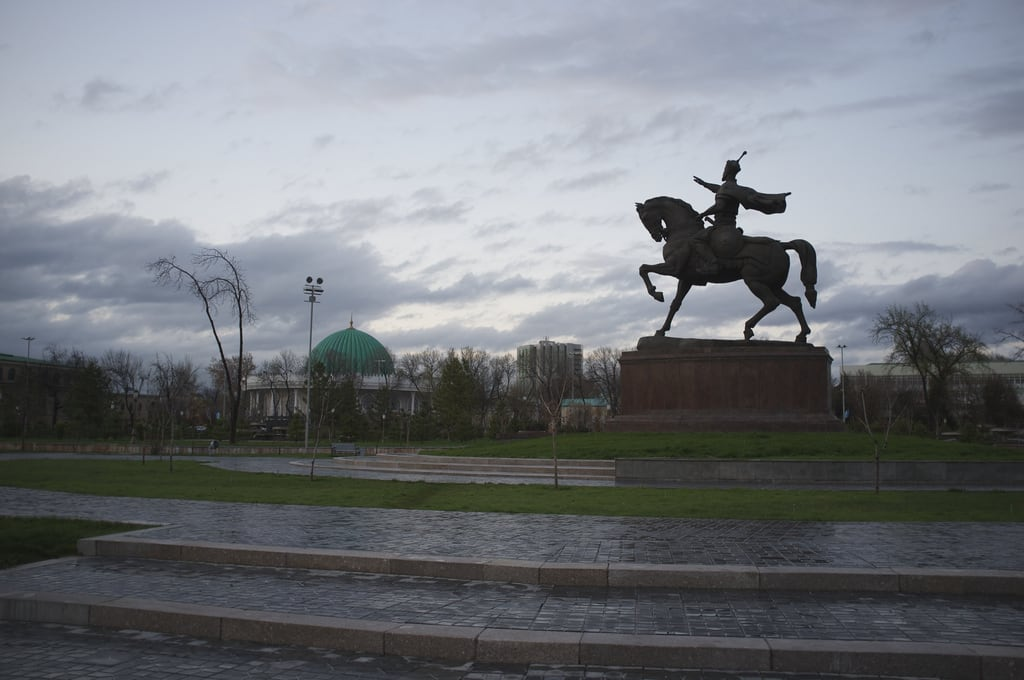 Image of Amir Temur. sunset rain uzbekistan tashkent culpture