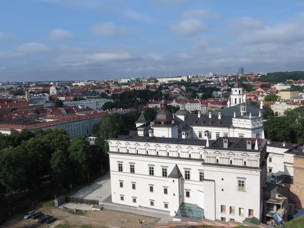 Image of Grand Duke Gediminas. palace belltower lithuania vilnius presidentialpalace vilniuscathedral gediminashill uppercastle gedimiastower