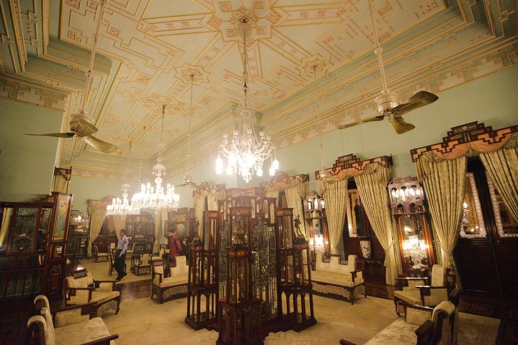 Billede af Falaknuma Palace. india architecture night hotel interior taj palace jade hyderabad nizam paigah falaknuma